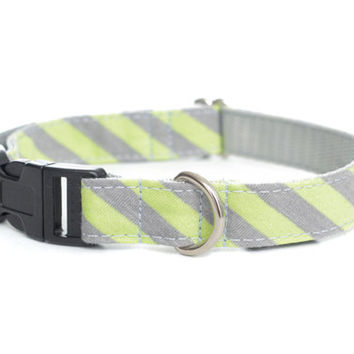 Dog Collar - Light Grey and Neon Green Stripes Jersey