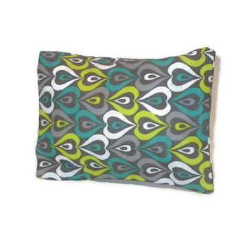 Aromatherapy Herbal Dream Pillow - Grey Lime Green Turquoise Hearts - (Blends Available: Restful, Peaceful, Romantic, or Creativity)