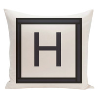 e by design H Amsterdam Monogram Pillow - White