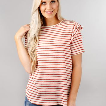 Striped Ruffle Sleeve