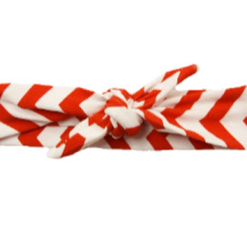 Red & White Chevron Knotted Headband