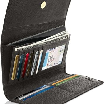 Genuine Leather Trifold Wallet With Removable Checkbook Holder