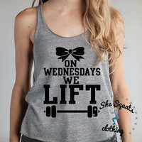 On Wednesdays We Lift Mean Girls Tank Workout Shirt. Crossfit Workout Tank. Racerback Gym Tank Top