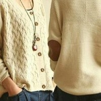 Vintage Cross flower Type Cardigan Sweater