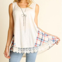 UMGEE USA sleeveless top with plaid details lace trim boho high low S M L