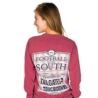 Football in the South Long Sleeve Tee Shirt in Crimson by Jadelynn Brooke