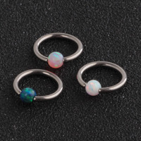 1Pc 1.0*8mm Opal Stone Captive Bead Ring Piercings Nose Rings Gauges Septum Clickers Nipple Lip Earring Tragus Body Jewelry