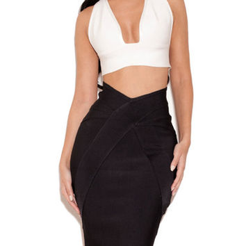 Two Pieces Black Bandage Skirt with White Top