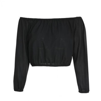 Fashion Women Sexy Casual Chiffon Strapless Off Shoulder Long Sleeve Elastic Solid Short Crop Tops