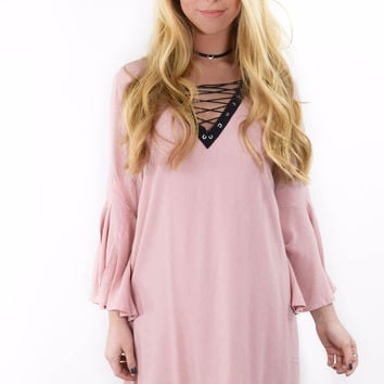 Town Square Blush Solid A-Line Dress