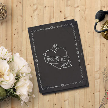 "Valentine's Day Card You and Me Card, Love Card, Heart Printable Card 5""x7"" Instant Download - Heart Digital Print, Chalkboard - on SALE 50%"
