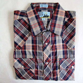 Vintage 70s Mens Plaid Shirt Blue Russet Check Rockabilly Style 1970s Deadstock Cotton Country Western Top LRG