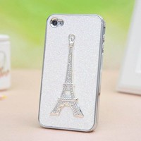 Sparking Eiffel Tower frosted Hard Cover case for Iphone 4/4s