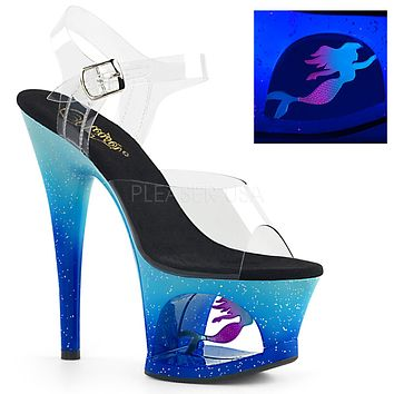 "Moon 708MER Blue Cut Out Platform Neon Mermaid Design 7"" High Heel Shoe"