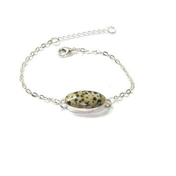 Dalmatian Bracelet , Dalmatian  And  Sterling Silver Bracelet , Gift For Her