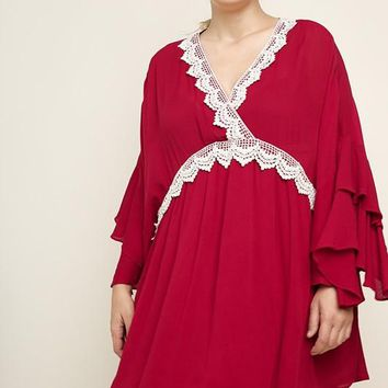 Plus Size Layered Ruffle Bell Sleeve V-Neck Dress