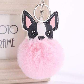 Fluffy Rabbit Fur Ball French Bulldog Keychain