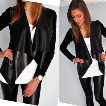 Black Lapel Collar Cardigan Leather Jacket