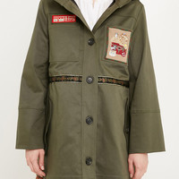 Gabardine parka with patches, Women