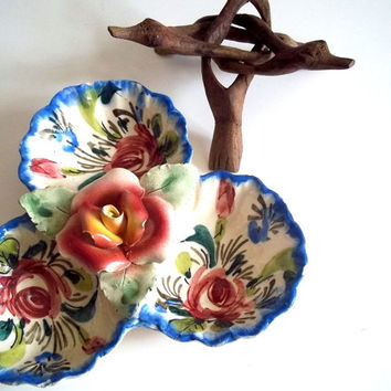 Vintage Ceramic Serving Dish Carved Wooden Stand Italian Pottery Circa 1950s Flowers Birds