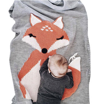 Knitted Baby Blanket Cotton Solid Kids Swaddle Cute Fox Blanket For Boy Girl Spring Autumn Baby Outdoor Car Blanket Baby Bedding