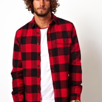 ASOS Heavyweight Overshirt in Long Sleeve with Buffalo Check