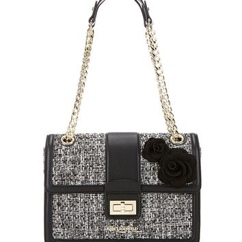 KARL LAGERFELD PARIS Agyness Tweed Rosette Shoulder Bag | Dillards