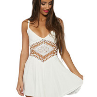 White Strappy Lace Cut-out Mini Beach Dress