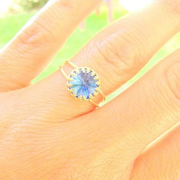 Gold ring, gold ring with blue swarovski crystal, something blue, vintage ring, stackable ring, blue royal