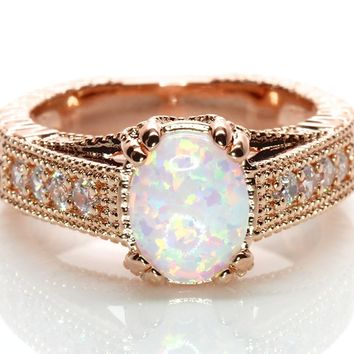 Oval White Fire Lab Created Opal Rose Gold Plated Antique Vintage Style Solitaire Bridal Wedding Engagement Promise Ring