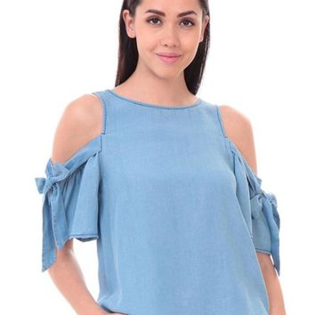 Chambray Blouse With Tie Sleeve