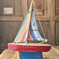 Vintage Pond Boat, Toy Boat, Wood Sailboat, Nautical Decor, Nautical Nursery, Vancouver B.C.