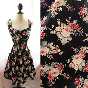 Quaint Romantic Antique Rustic Jane Austen Red Roses Mint Leaf Country Road Sweetheart Marie Antoinette Alice in Wonderland Dress