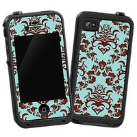Classic Brown and Blue Damask Skin  for the iPhone 4/4S Lifeproof Case by skinzy.com