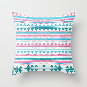 Pink & Blue Tribal Throw Pillow by PinkBerryPatterns