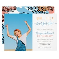 Modern Shhh.. It's A Surprise Photo Birthday Party Invitation