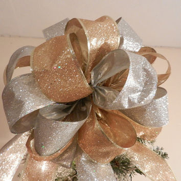 Large Gold and silver Glitter Christmas Tree topper bow and 12 ornament bows