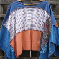 Upcycled Hippie Rainbow Poncho Funky Romantic Lagenlook Cape/Cover Up/Eco Sweater Shawl Patchwork Ponchos One Size