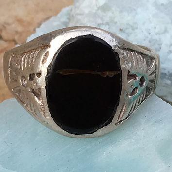 Sterling Silver Black Coral Thunderbird Signet Ring