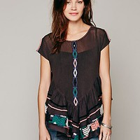 Free People Womens FP New Romantics Pinnacle Mesh Top - Almost Black,