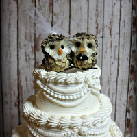 "Owl Wedding Cake Topper-Owls-Woodlands Wedding Cake Topper 4"" wide(side by side) x 3"" tall"