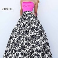 Print Strapless A-Line Long Prom Dress by Sherri Hill