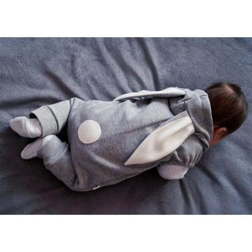 Baby Winter Clothes Long Rabbit Ears Hooded Cotton Overall Warm Costumes Gray Zipper Baby Winter Overalls Outerwear