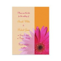 Orange & Pink Gerbera Daisy Save the Date Card Announcements from Zazzle.com