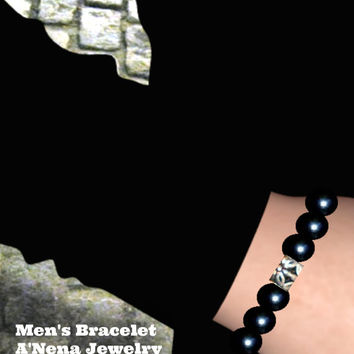 "Men's Bracelet  Agate and Onyx  ""Carpe Diem"""