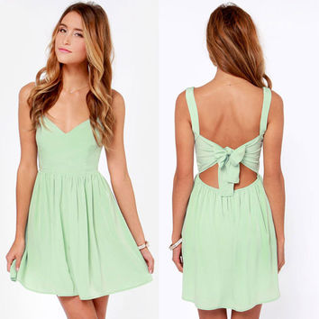 Sexy Deep V Bowknot Backless Suspendered Chiffon Dress