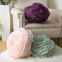 Creative Yarn Rose Cushions Romantic Valentine's Day Lover Gifts 3D Flower Sofa pillow Cusion rose bed Pillow Home Wedding Decor