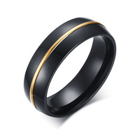 Mprainbow Mens Rings Stainless Steel 6mm Black Wedding Band Ring Gold Plated Channel with Arc Top and Polished Finish Edges anel