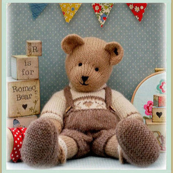 ROMEO Bear / Teddy Bear Toy Knitting Pattern/ PDF/ Plus Free Handmade Shoes Knitting Pattern/ INSTANT Download