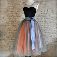 Grey and orange tulle skirt for women. Wide charcoal grey satin ribbon waist. Tutus Chic classic women's tutu skirt. Lined in silver satin.